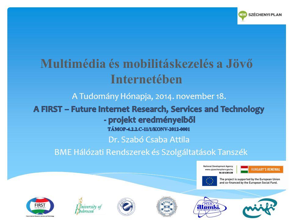 A Jövő Internettel szembeni hálózati követelmények  Az egyre növekvő multimédia forgalom kezelése  Hálózati kapacitások  Quality of Service, Quality of Experience  Hozzáférés mindenhonnan, bármilyen készülékkel, elvárt minőségben  Mobilitás tetszőleges hálózati technológiák és rendszerek között  Alkalmazkodás a felhasználói készülékek és elérhető hálózatok képességeihez  Internet of Things  Vezeték nélküli szenzor hálózatok, crowdsensing megoldások, önszerveződési elvek alkalmazása 2 JÖVŐ INTERNET KUTATÁSOK AZ ELMÉLETTŐL AZ ALKALMAZÁSIG