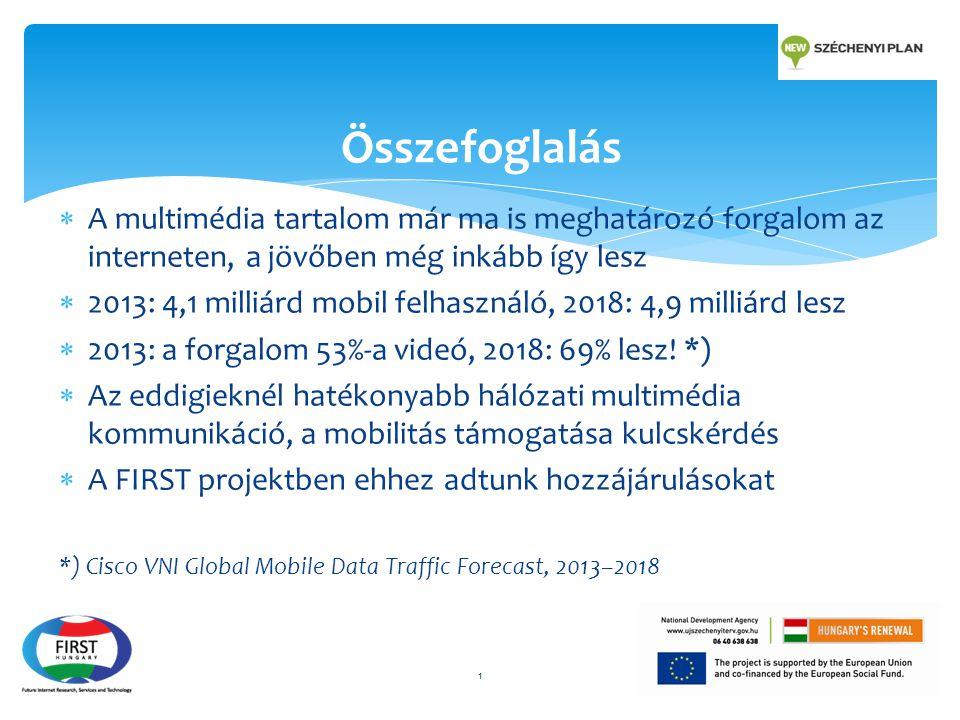  A multimédia tartalom már ma is meghatározó forgalom az interneten, a jövőben még inkább így lesz  2013: 4,1 milliárd mobil felhasználó, 2018: 4,9 milliárd lesz  2013: a forgalom 53%-a videó, 2018: 69% lesz.
