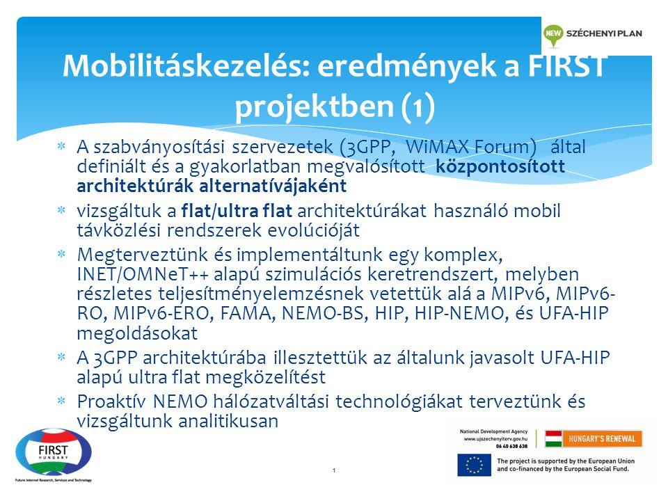  A szabványosítási szervezetek (3GPP, WiMAX Forum) által definiált és a gyakorlatban megvalósított központosított architektúrák alternatívájaként  v