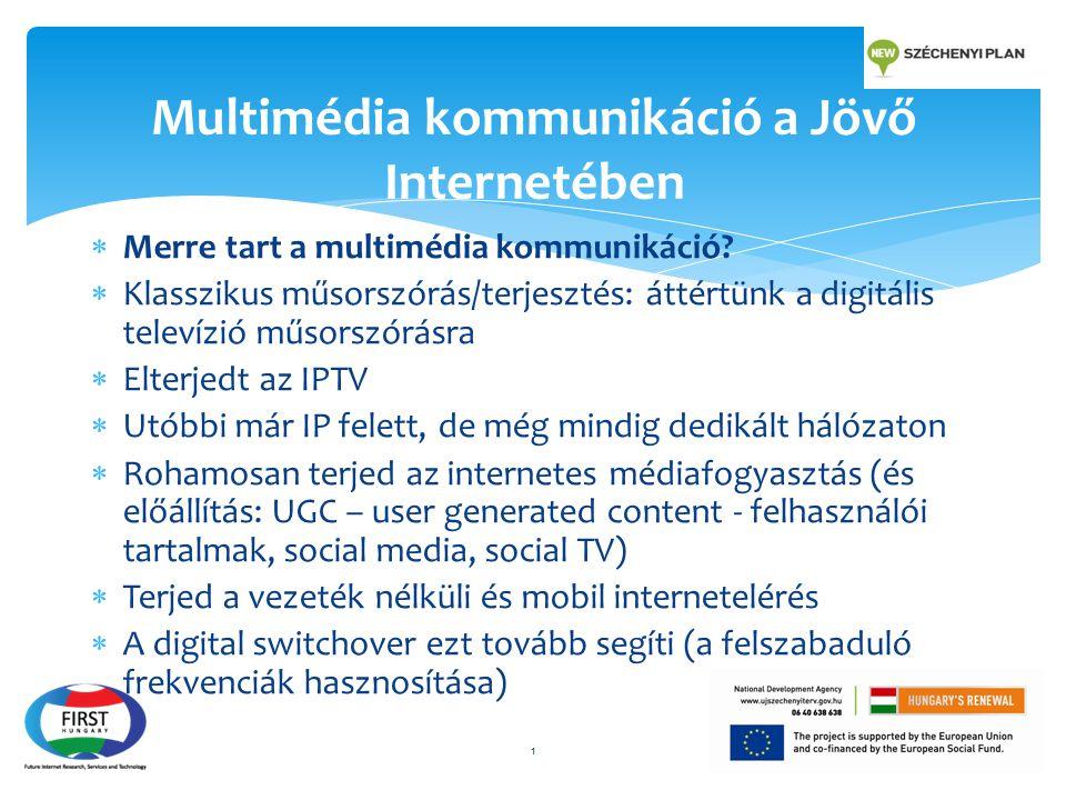  Merre tart a multimédia kommunikáció?  Klasszikus műsorszórás/terjesztés: áttértünk a digitális televízió műsorszórásra  Elterjedt az IPTV  Utóbb