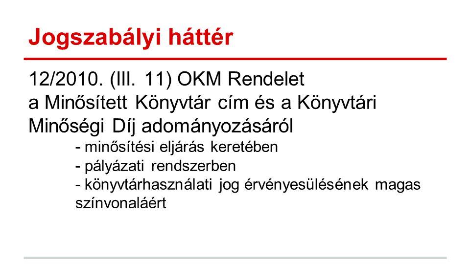 Jogszabályi háttér 12/2010. (III. 11) OKM Rendelet a Minősített Könyvtár cím és a Könyvtári Minőségi Díj adományozásáról - minősítési eljárás keretébe