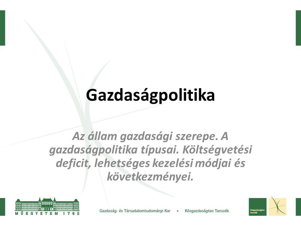 Gazdaságpolitika Az állam gazdasági szerepe. A gazdaságpolitika típusai. Költségvetési deficit, lehetséges kezelési módjai és következményei.