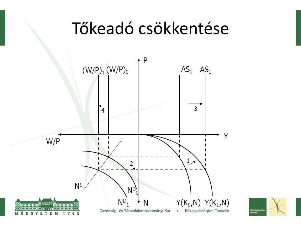 Tőkeadó csökkentése Y(K 0,N) AS 0 AS 1 (W/P) 1 (W/P) 0 W/P P Y N ND0ND0 ND1ND1 NSNS 1 3 4 2 Y(K 1,N)