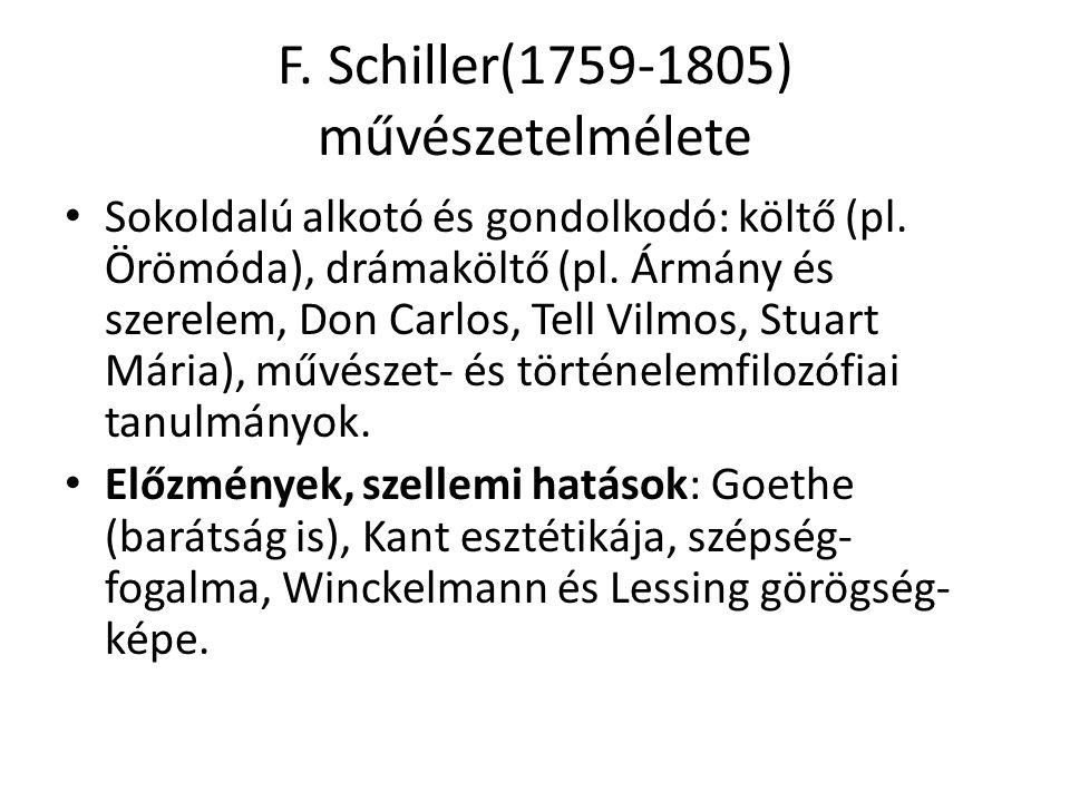 F. Schiller(1759-1805) művészetelmélete Sokoldalú alkotó és gondolkodó: költő (pl. Örömóda), drámaköltő (pl. Ármány és szerelem, Don Carlos, Tell Vilm