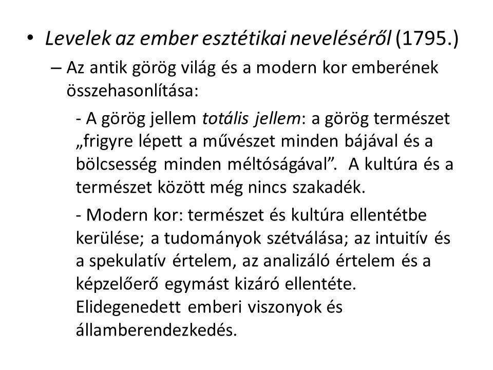 Levelek az ember esztétikai neveléséről (1795.) – Az antik görög világ és a modern kor emberének összehasonlítása: - A görög jellem totális jellem: a