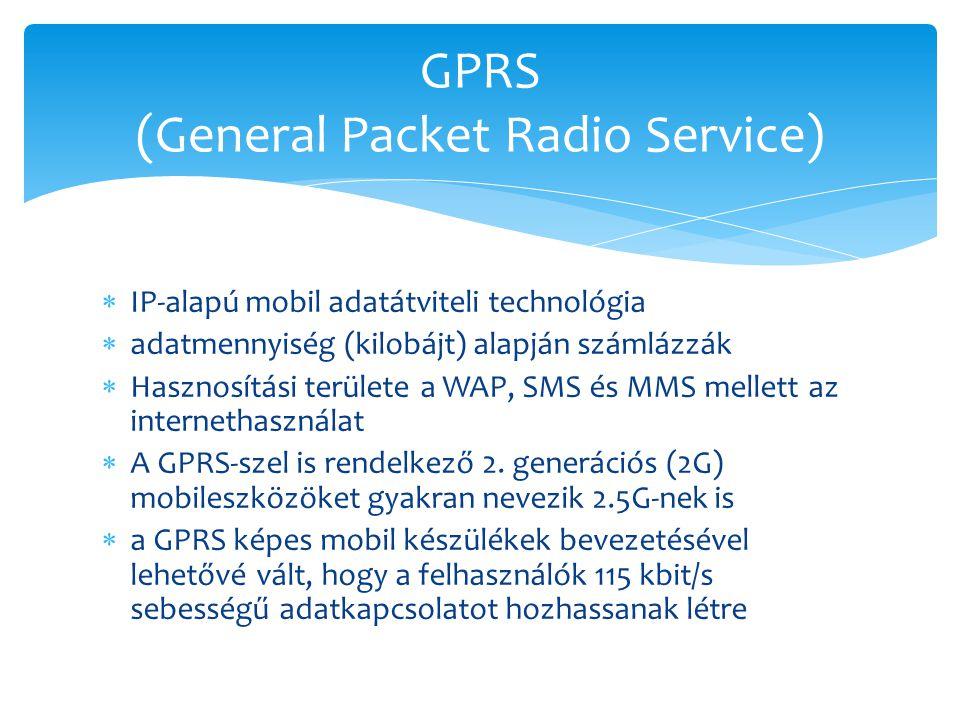  IP-alapú mobil adatátviteli technológia  adatmennyiség (kilobájt) alapján számlázzák  Hasznosítási területe a WAP, SMS és MMS mellett az interneth