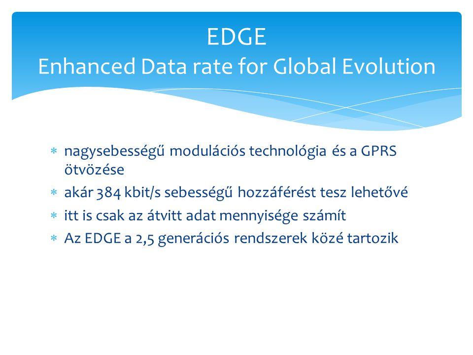  nagysebességű modulációs technológia és a GPRS ötvözése  akár 384 kbit/s sebességű hozzáférést tesz lehetővé  itt is csak az átvitt adat mennyiség