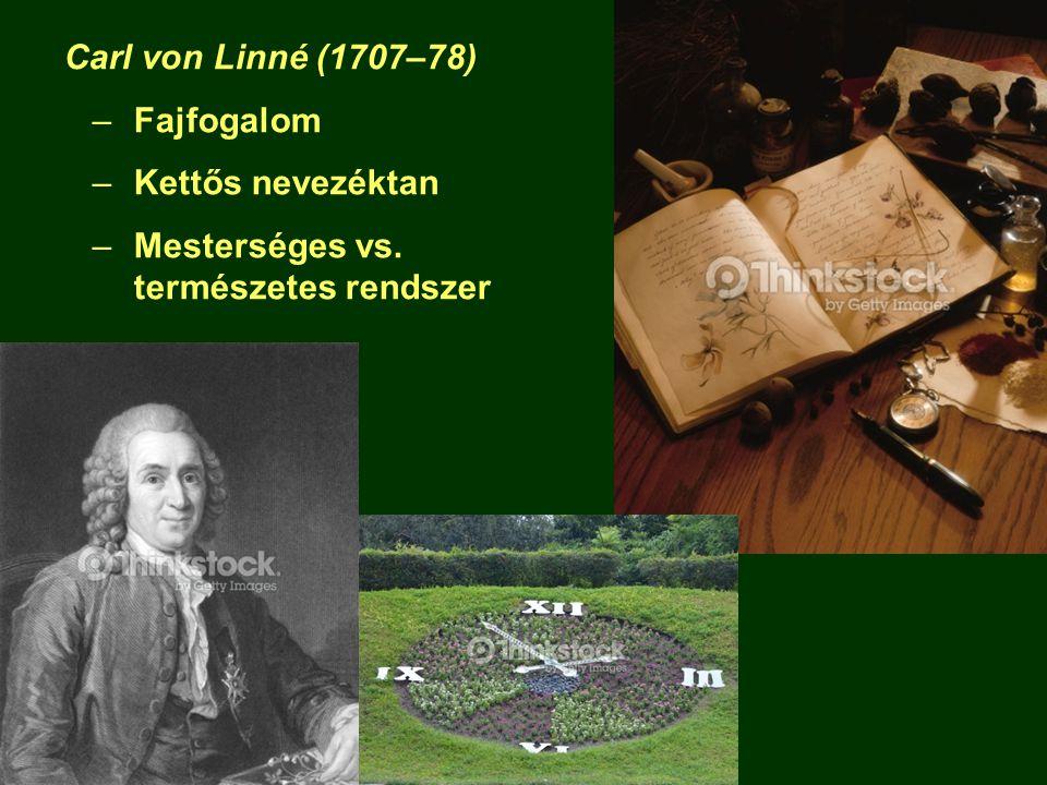 Carl von Linné (1707–78) –Fajfogalom –Kettős nevezéktan –Mesterséges vs. természetes rendszer