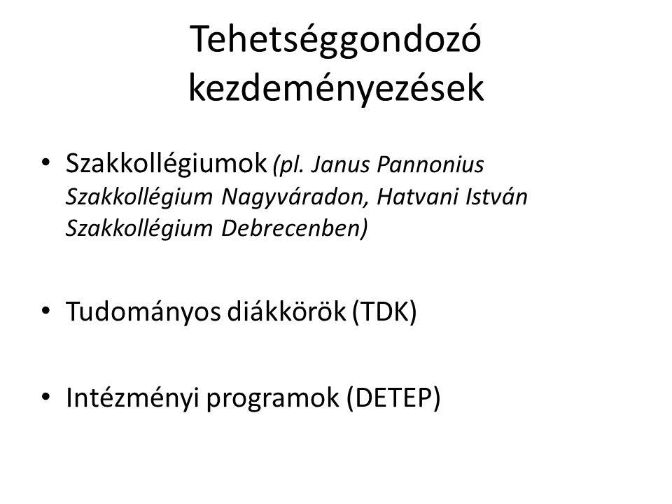 Tehetséggondozó kezdeményezések Szakkollégiumok (pl. Janus Pannonius Szakkollégium Nagyváradon, Hatvani István Szakkollégium Debrecenben) Tudományos d