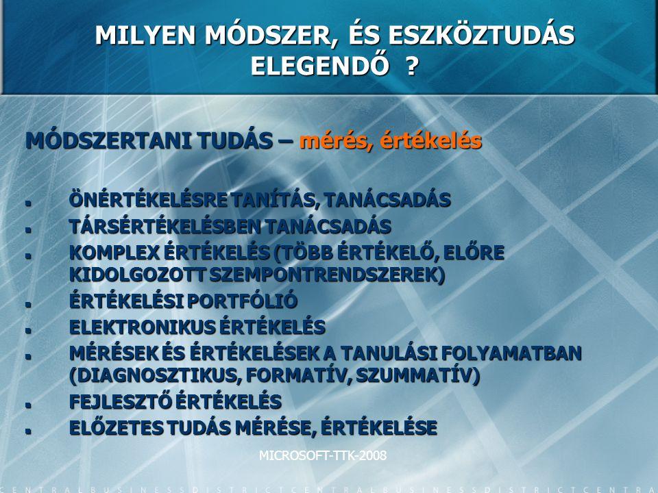 MICROSOFT-TTK-2008 MILYEN MÓDSZER, ÉS ESZKÖZTUDÁS ELEGENDŐ .