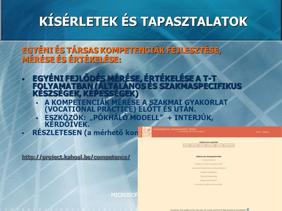 MICROSOFT-TTK-2008 KÍSÉRLETEK ÉS TAPASZTALATOK EGYÉNI ÉS TÁRSAS KOMPETENCIÁK FEJLESZTÉSE, MÉRÉSE ÉS ÉRTÉKELÉSE:  EGYÉNI FEJLŐDÉS MÉRÉSE, ÉRTÉKELÉSE A T-T FOLYAMATBAN (ÁLTALÁNOS ÉS SZAKMASPECIFIKUS KÉSZSÉGEK, KÉPESSÉGEK)   A KOMPETENCIÁK MÉRÉSE A SZAKMAI GYAKORLAT (VOCATIONAL PRACTICE) ELŐTT ÉS UTÁN.