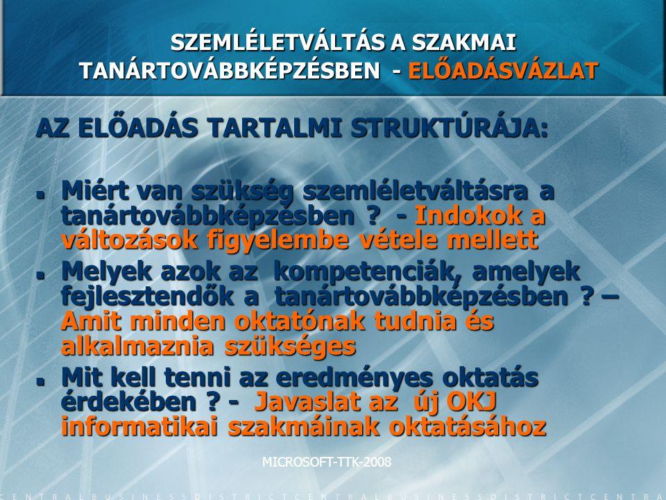 MICROSOFT-TTK-2008 SZEMLÉLETVÁLTÁS A SZAKMAI TANÁRTOVÁBBKÉPZÉSBEN - ELŐADÁSVÁZLAT SZEMLÉLETVÁLTÁS A SZAKMAI TANÁRTOVÁBBKÉPZÉSBEN - ELŐADÁSVÁZLAT AZ ELŐADÁS TARTALMI STRUKTÚRÁJA: Miért van szükség szemléletváltásra a tanártovábbképzésben .