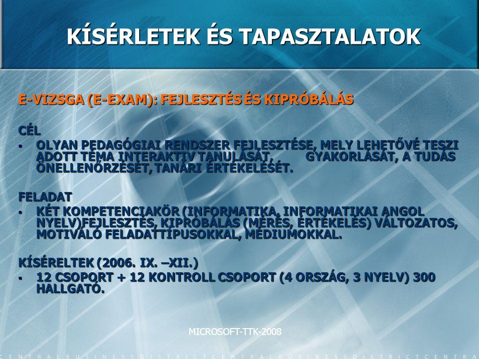 MICROSOFT-TTK-2008 KÍSÉRLETEK ÉS TAPASZTALATOK E-VIZSGA (E-EXAM): FEJLESZTÉS ÉS KIPRÓBÁLÁS CÉL  OLYAN PEDAGÓGIAI RENDSZER FEJLESZTÉSE, MELY LEHETŐVÉ TESZI ADOTT TÉMA INTERAKTIV TANULÁSÁT, GYAKORLÁSÁT, A TUDÁS ÖNELLENŐRZÉSÉT, TANÁRI ÉRTÉKELÉSÉT.