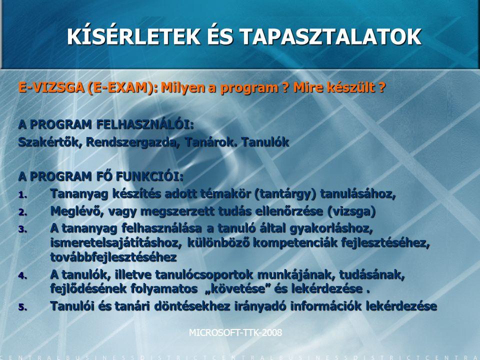 MICROSOFT-TTK-2008 KÍSÉRLETEK ÉS TAPASZTALATOK E-VIZSGA (E-EXAM): Milyen a program ? Mire készült ? A PROGRAM FELHASZNÁLÓI: Szakértők, Rendszergazda,
