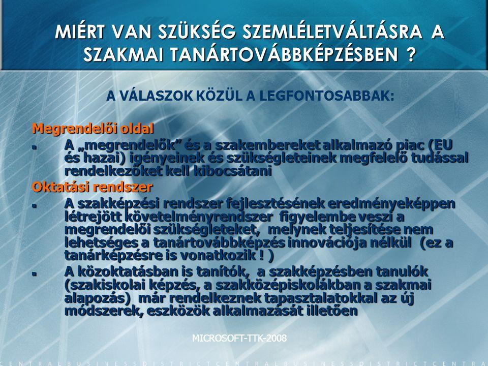 MICROSOFT-TTK-2008 MIÉRT VAN SZÜKSÉG SZEMLÉLETVÁLTÁSRA A SZAKMAI TANÁRTOVÁBBKÉPZÉSBEN .