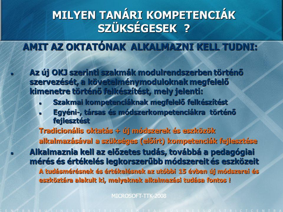 MICROSOFT-TTK-2008 MILYEN TANÁRI KOMPETENCIÁK SZÜKSÉGESEK .
