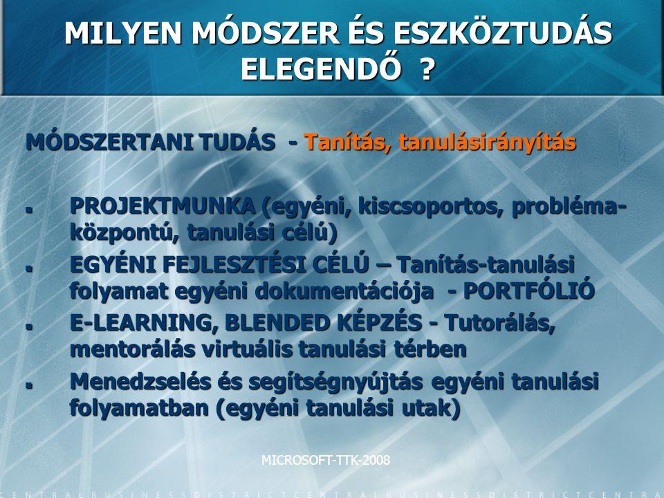 MICROSOFT-TTK-2008 MILYEN MÓDSZER ÉS ESZKÖZTUDÁS ELEGENDŐ ? MÓDSZERTANI TUDÁS - Tanítás, tanulásirányítás PROJEKTMUNKA (egyéni, kiscsoportos, probléma