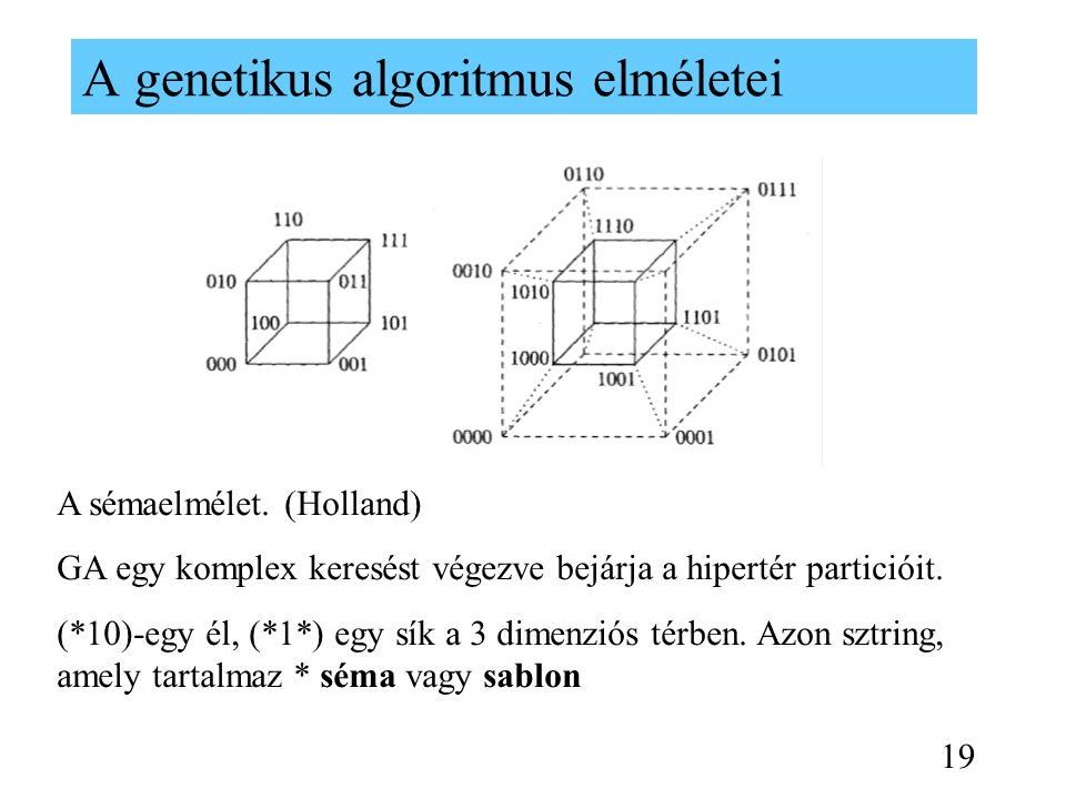 A genetikus algoritmus elméletei A sémaelmélet. (Holland) GA egy komplex keresést végezve bejárja a hipertér particióit. (*10)-egy él, (*1*) egy sík a