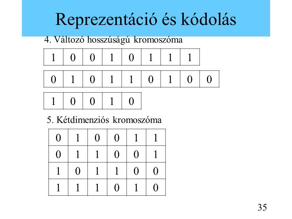 Reprezentáció és kódolás 10010111 4. Változó hosszúságú kromoszóma 010110100 10010 5. Kétdimenziós kromoszóma 010011 011001 101100 111010 35