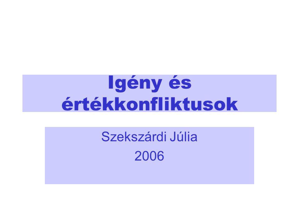 Igény és értékkonfliktusok Szekszárdi Júlia 2006