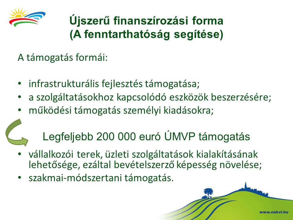 Újszerű finanszírozási forma (A fenntarthatóság segítése) A támogatás formái: infrastrukturális fejlesztés támogatása; a szolgáltatásokhoz kapcsolódó eszközök beszerzésére; működési támogatás személyi kiadásokra; Legfeljebb 200 000 euró ÚMVP támogatás vállalkozói terek, üzleti szolgáltatások kialakításának lehetősége, ezáltal bevételszerző képesség növelése; szakmai-módszertani támogatás.