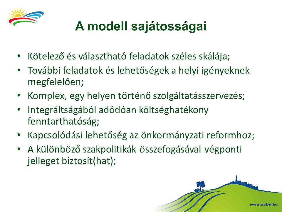 A modell sajátosságai Kötelező és választható feladatok széles skálája; További feladatok és lehetőségek a helyi igényeknek megfelelően; Komplex, egy helyen történő szolgáltatásszervezés; Integráltságából adódóan költséghatékony fenntarthatóság; Kapcsolódási lehetőség az önkormányzati reformhoz; A különböző szakpolitikák összefogásával végponti jelleget biztosít(hat);