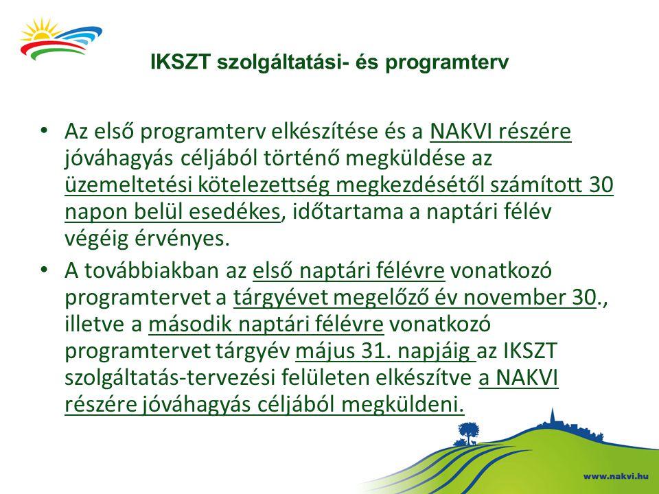 IKSZT szolgáltatási- és programterv Az első programterv elkészítése és a NAKVI részére jóváhagyás céljából történő megküldése az üzemeltetési kötelezettség megkezdésétől számított 30 napon belül esedékes, időtartama a naptári félév végéig érvényes.