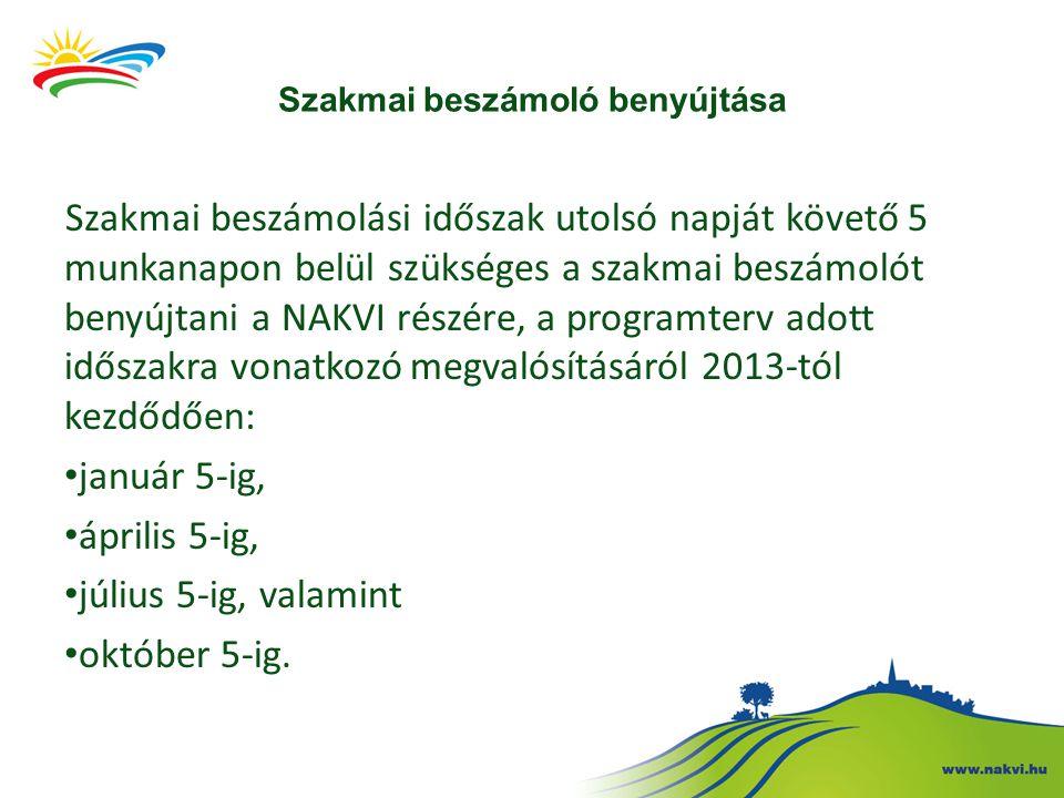 Szakmai beszámoló benyújtása Szakmai beszámolási időszak utolsó napját követő 5 munkanapon belül szükséges a szakmai beszámolót benyújtani a NAKVI részére, a programterv adott időszakra vonatkozó megvalósításáról 2013-tól kezdődően: január 5-ig, április 5-ig, július 5-ig, valamint október 5-ig.