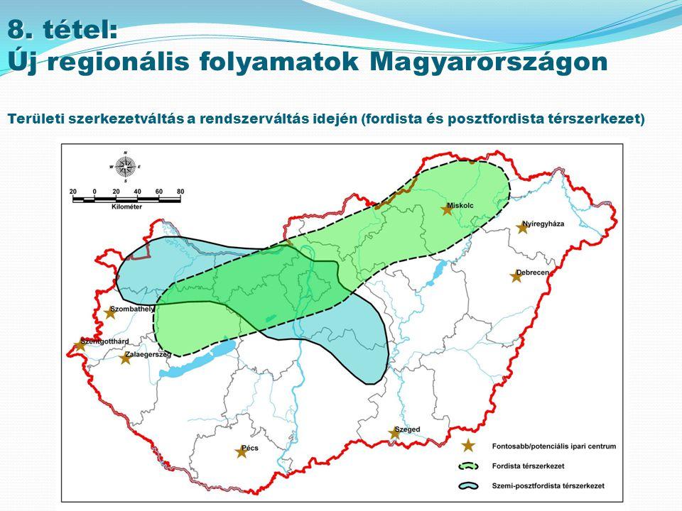 Új regionális folyamatok Magyarországon A rendszerváltozás következményei Az átmenet évei: 1990-96 Önkormányzati törvény (1996) – megye vs.