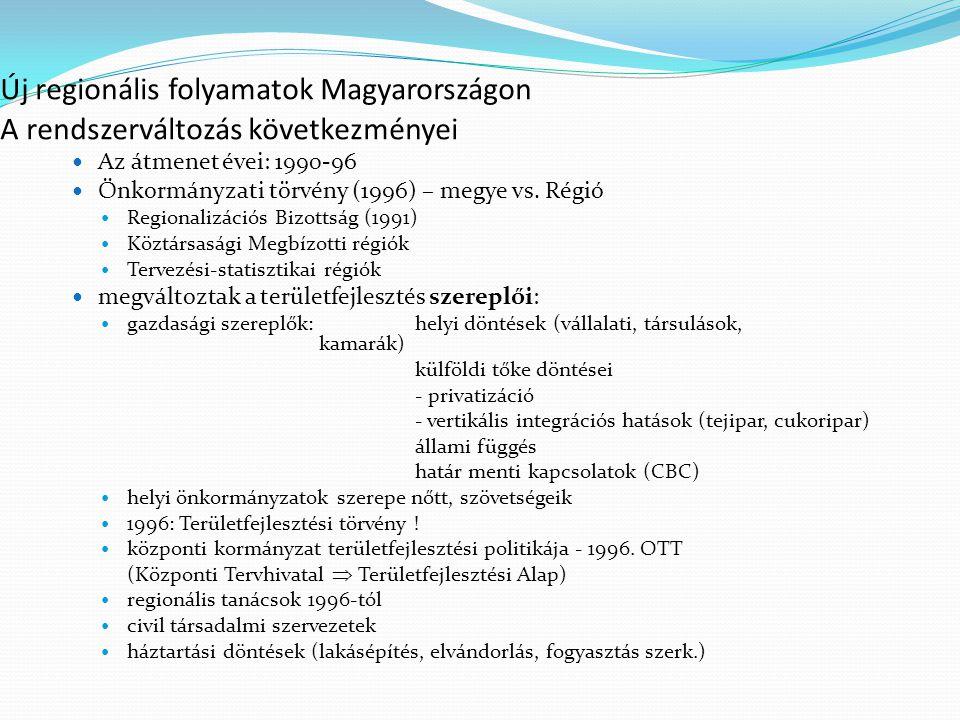 Új regionális folyamatok Magyarországon A rendszerváltozás következményei gazdaság nagyfokú leépülése új folyamatokat indított el: állami tulajdonú gazdasági szervezetek, mgtsz-ek átalakulása  területileg eltérő módon.