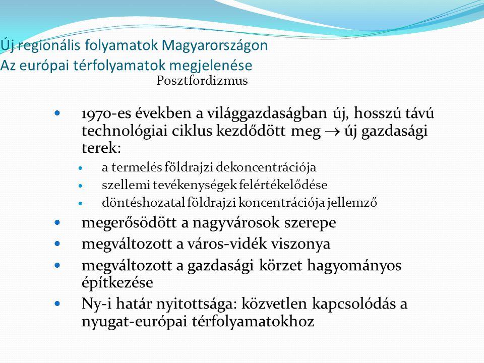 Új regionális folyamatok Magyarországon Az európai térfolyamatok megjelenése 1970-es években a világgazdaságban új, hosszú távú technológiai ciklus kezdődött meg  új gazdasági terek: a termelés földrajzi dekoncentrációja szellemi tevékenységek felértékelődése döntéshozatal földrajzi koncentrációja jellemző megerősödött a nagyvárosok szerepe megváltozott a város-vidék viszonya megváltozott a gazdasági körzet hagyományos építkezése Ny-i határ nyitottsága: közvetlen kapcsolódás a nyugat-európai térfolyamatokhoz Posztfordizmus