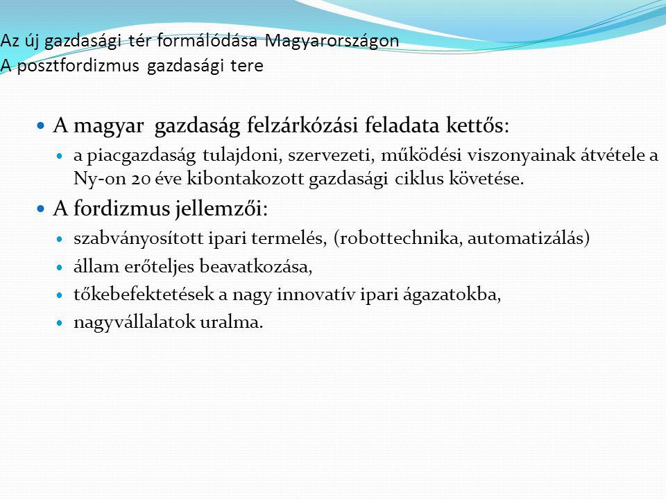 Az új gazdasági tér formálódása Magyarországon A posztfordizmus gazdasági tere A magyar gazdaság felzárkózási feladata kettős: a piacgazdaság tulajdoni, szervezeti, működési viszonyainak átvétele a Ny-on 20 éve kibontakozott gazdasági ciklus követése.