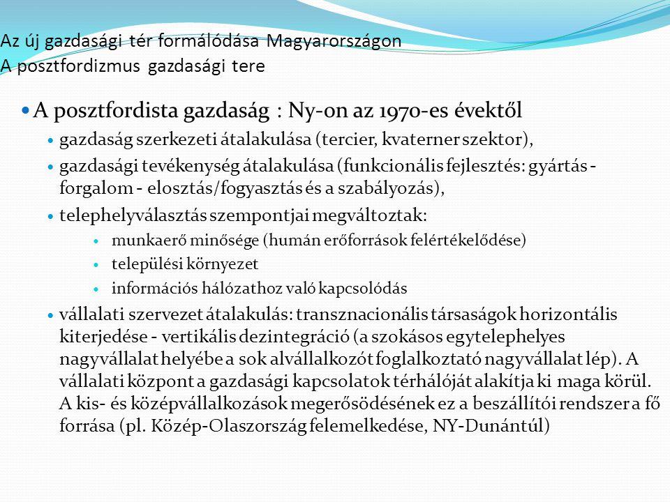 Az új gazdasági tér formálódása Magyarországon A posztfordizmus gazdasági tere A posztfordista gazdaság : Ny-on az 1970-es évektől gazdaság szerkezeti átalakulása (tercier, kvaterner szektor), gazdasági tevékenység átalakulása (funkcionális fejlesztés: gyártás - forgalom - elosztás/fogyasztás és a szabályozás), telephelyválasztás szempontjai megváltoztak: munkaerő minősége (humán erőforrások felértékelődése) települési környezet információs hálózathoz való kapcsolódás vállalati szervezet átalakulás: transznacionális társaságok horizontális kiterjedése - vertikális dezintegráció (a szokásos egytelephelyes nagyvállalat helyébe a sok alvállalkozót foglalkoztató nagyvállalat lép).