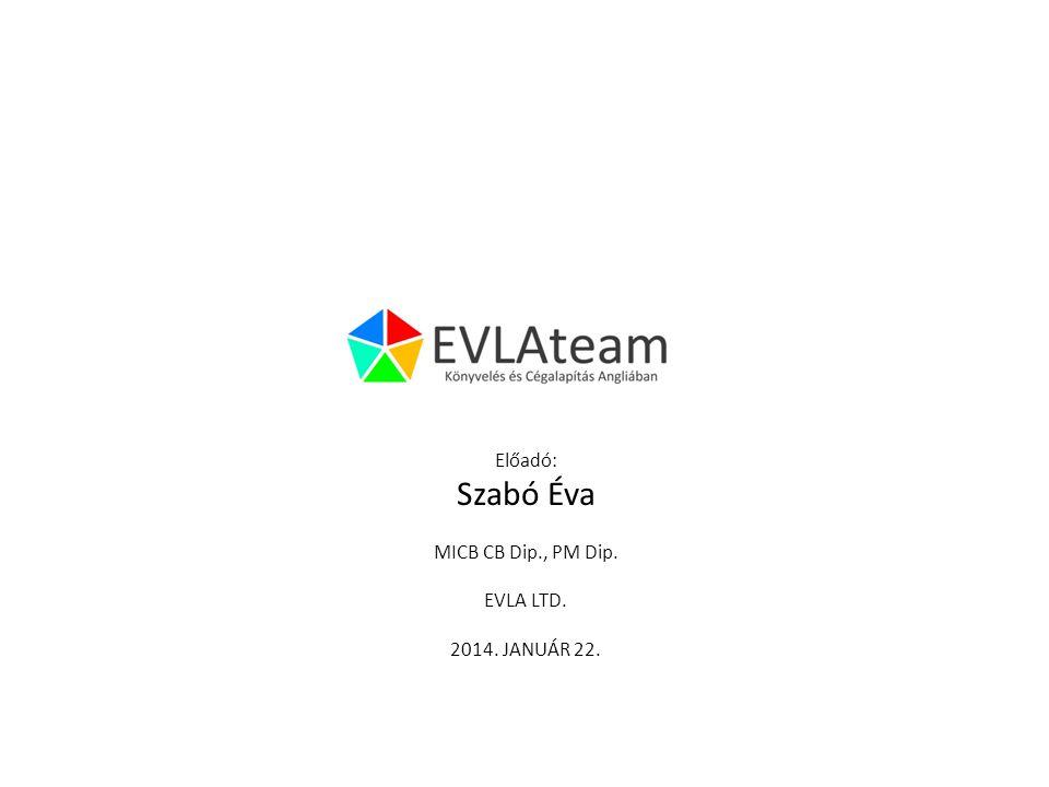 Előadó: Szabó Éva MICB CB Dip., PM Dip. EVLA LTD. 2014. JANUÁR 22.