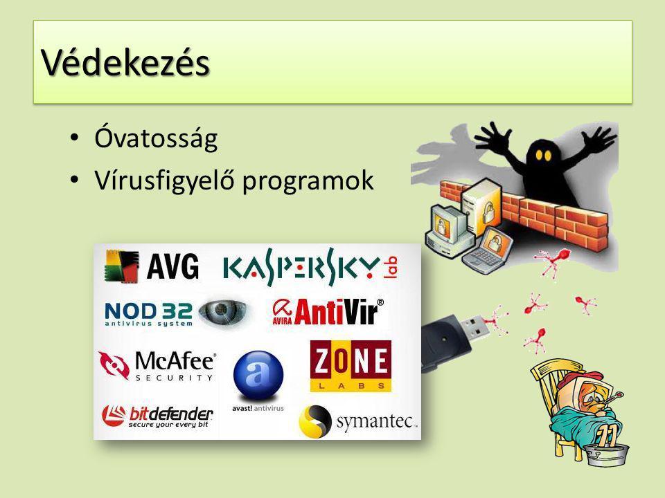 VédekezésVédekezés Óvatosság Vírusfigyelő programok