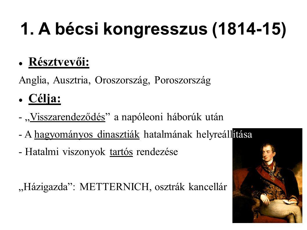"""1. A bécsi kongresszus (1814-15) Résztvevői: Anglia, Ausztria, Oroszország, Poroszország Célja: - """"Visszarendeződés"""" a napóleoni háborúk után - A hagy"""