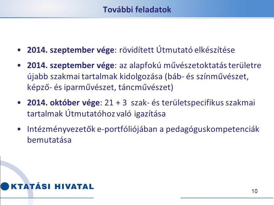 További feladatok 2014. szeptember vége: rövidített Útmutató elkészítése 2014. szeptember vége: az alapfokú művészetoktatás területre újabb szakmai ta