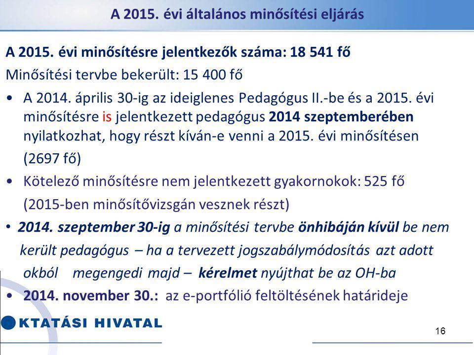 A 2015. évi általános minősítési eljárás A 2015. évi minősítésre jelentkezők száma: 18 541 fő Minősítési tervbe bekerült: 15 400 fő A 2014. április 30