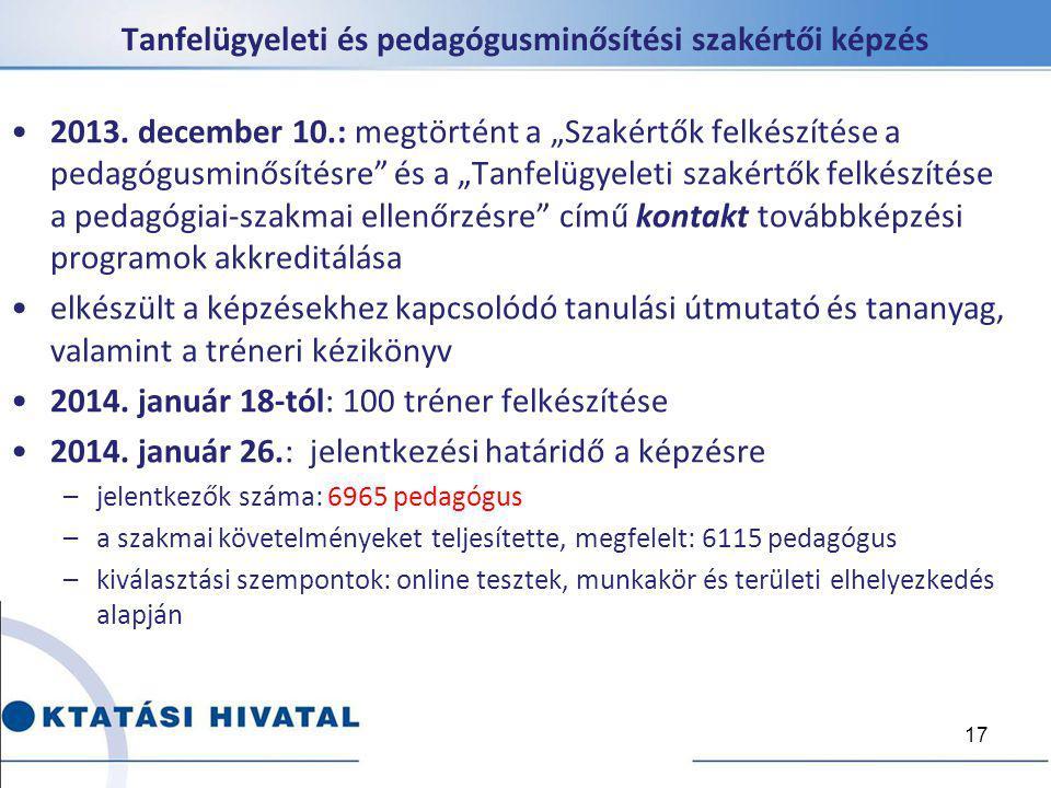"""2013. december 10.: megtörtént a """"Szakértők felkészítése a pedagógusminősítésre"""" és a """"Tanfelügyeleti szakértők felkészítése a pedagógiai-szakmai elle"""
