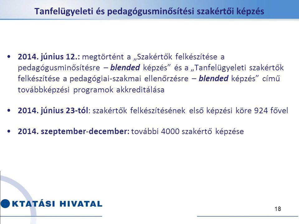 """2014. június 12.: megtörtént a """"Szakértők felkészítése a pedagógusminősítésre – blended képzés"""" és a """"Tanfelügyeleti szakértők felkészítése a pedagógi"""