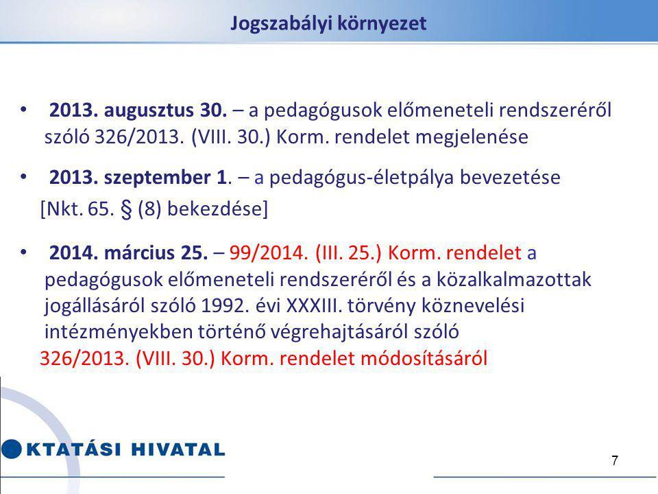 Jogszabályi környezet 2013. augusztus 30. – a pedagógusok előmeneteli rendszeréről szóló 326/2013. (VIII. 30.) Korm. rendelet megjelenése 2013. szepte