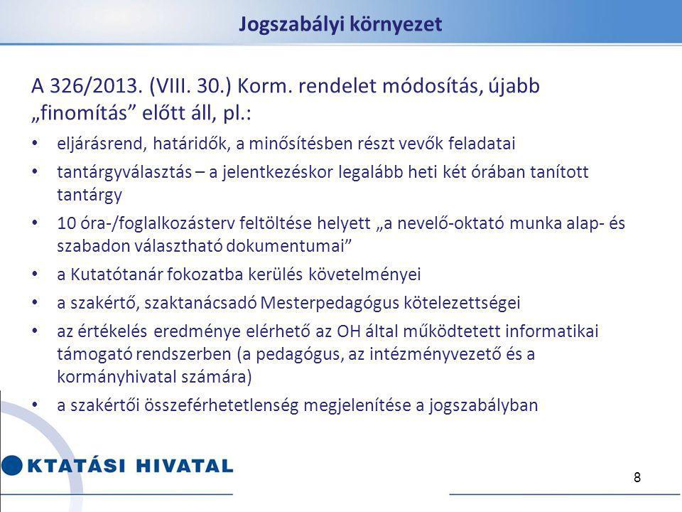 """Jogszabályi környezet A 326/2013. (VIII. 30.) Korm. rendelet módosítás, újabb """"finomítás"""" előtt áll, pl.: eljárásrend, határidők, a minősítésben részt"""