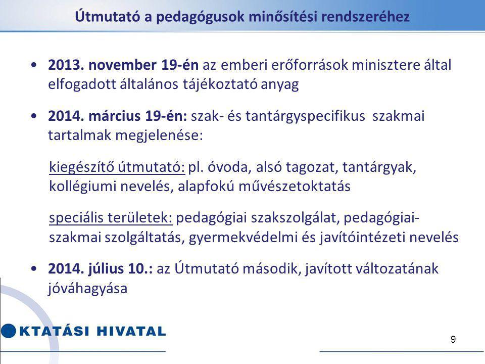 Útmutató a pedagógusok minősítési rendszeréhez 2013. november 19-én az emberi erőforrások minisztere által elfogadott általános tájékoztató anyag 2014