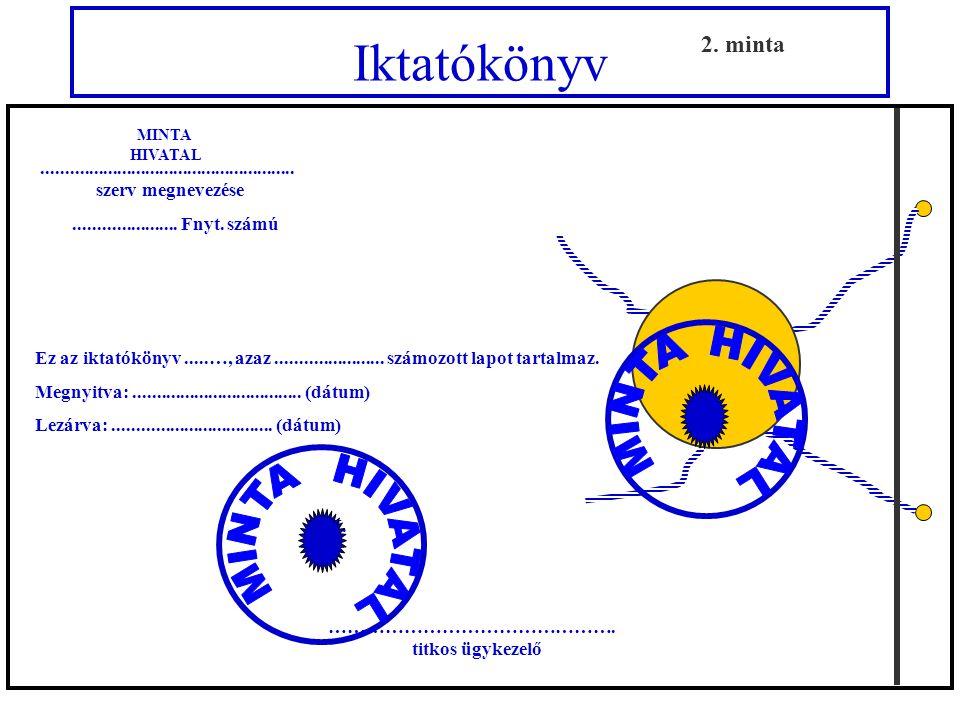 Iktatókönyv a nemzeti minősített iratok részére 2. minta
