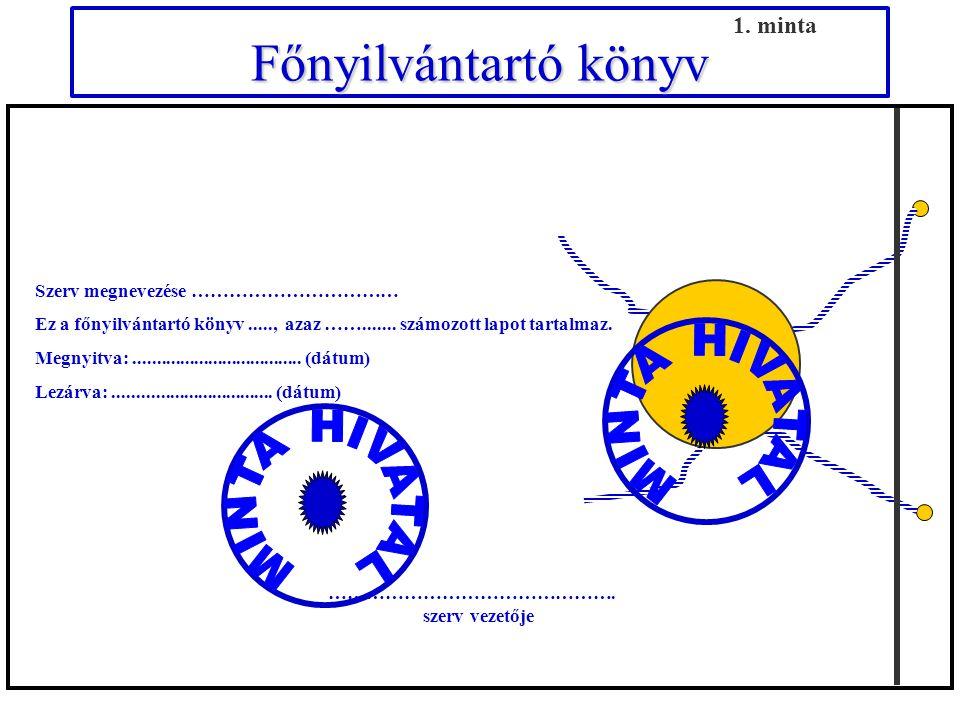 Iktatókönyv (bal oldala) Érkezett / Saját készítésű irat Sorszáma Példány- sorszáma Küldő iktatószáma (hivatkozási szám) Minősítési szint érvényességi idő Érkezés 17.