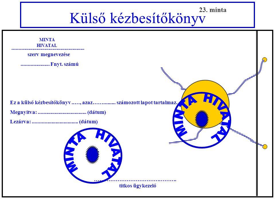 Külső kézbesítőkönyv a nemzeti minősített iratok részére 23. minta