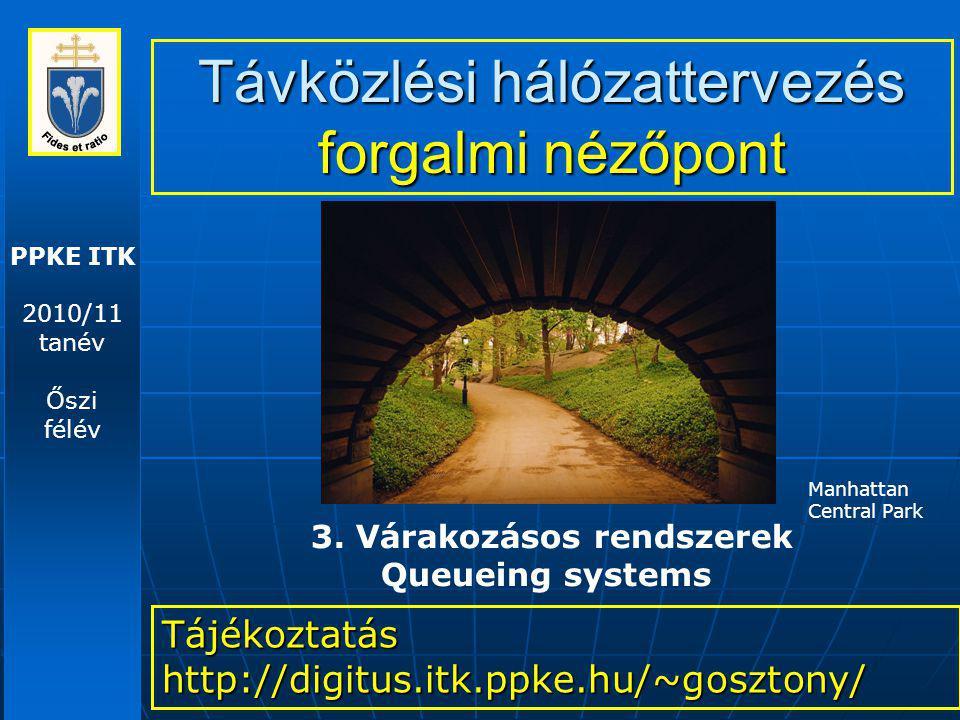 PPKE ITK 2010/11 tanév Őszi félév Távközlési hálózattervezés forgalmi nézőpont Tájékoztatás http://digitus.itk.ppke.hu/~gosztony/ 3. Várakozásos rends