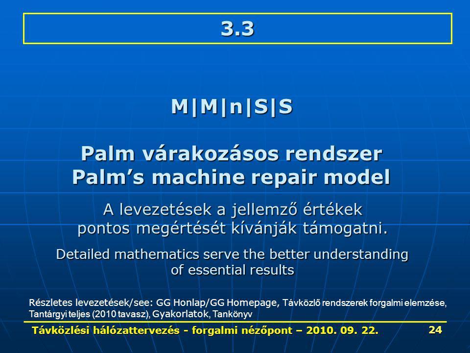 Távközlési hálózattervezés - forgalmi nézőpont – 2010. 09. 22. 24 3.3 M|M|n|S|S Palm várakozásos rendszer Palm's machine repair model Részletes leveze