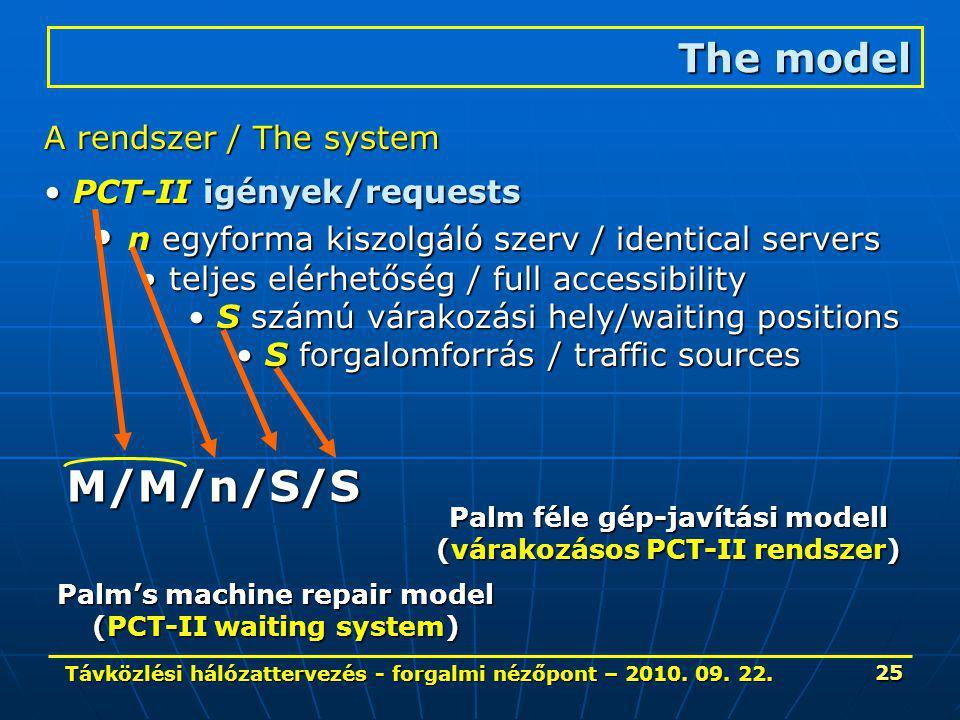 Távközlési hálózattervezés - forgalmi nézőpont – 2010. 09. 22. 25 The model A rendszer / The system PCT-II igények/requests PCT-II igények/requests n
