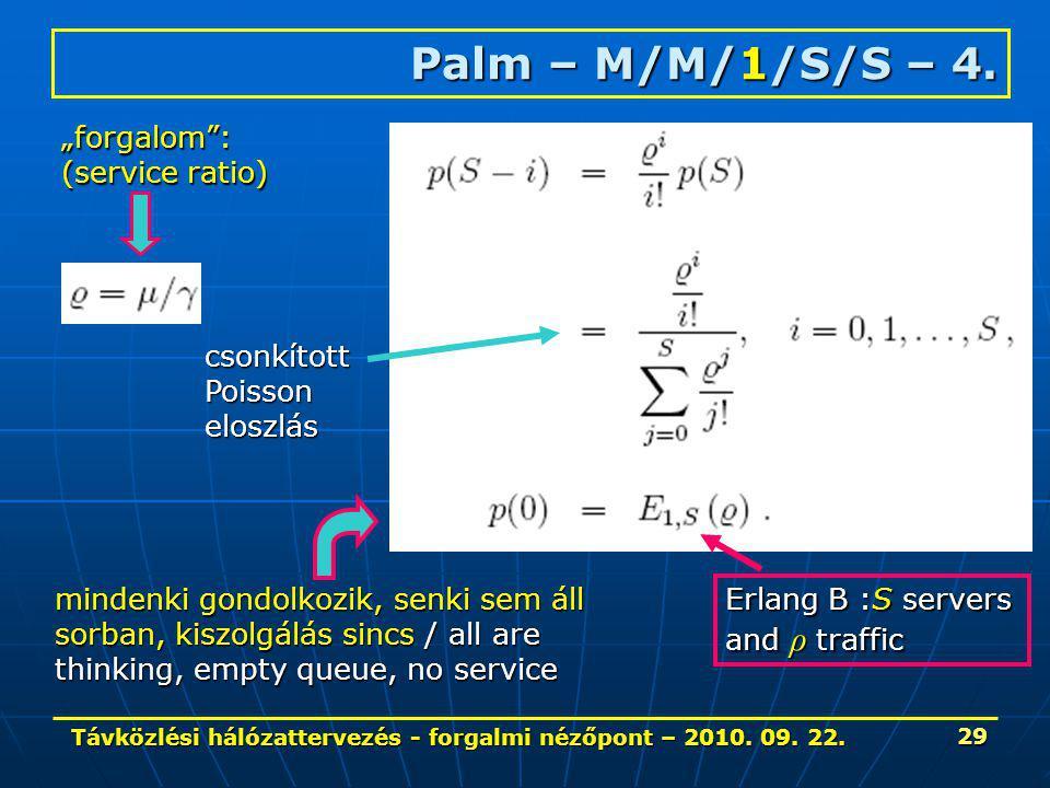 Távközlési hálózattervezés - forgalmi nézőpont – 2010. 09. 22. 29 Palm – M/M/1/S/S – 4. csonkítottPoissoneloszlás mindenki gondolkozik, senki sem áll
